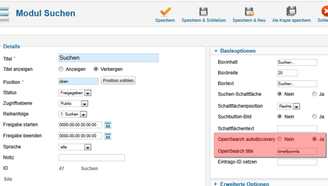 Open Search Einstellungen im Modul